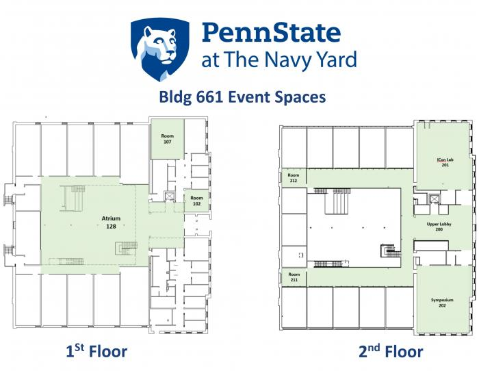 Floor plan of Building 661, showing conference space on first and second floors