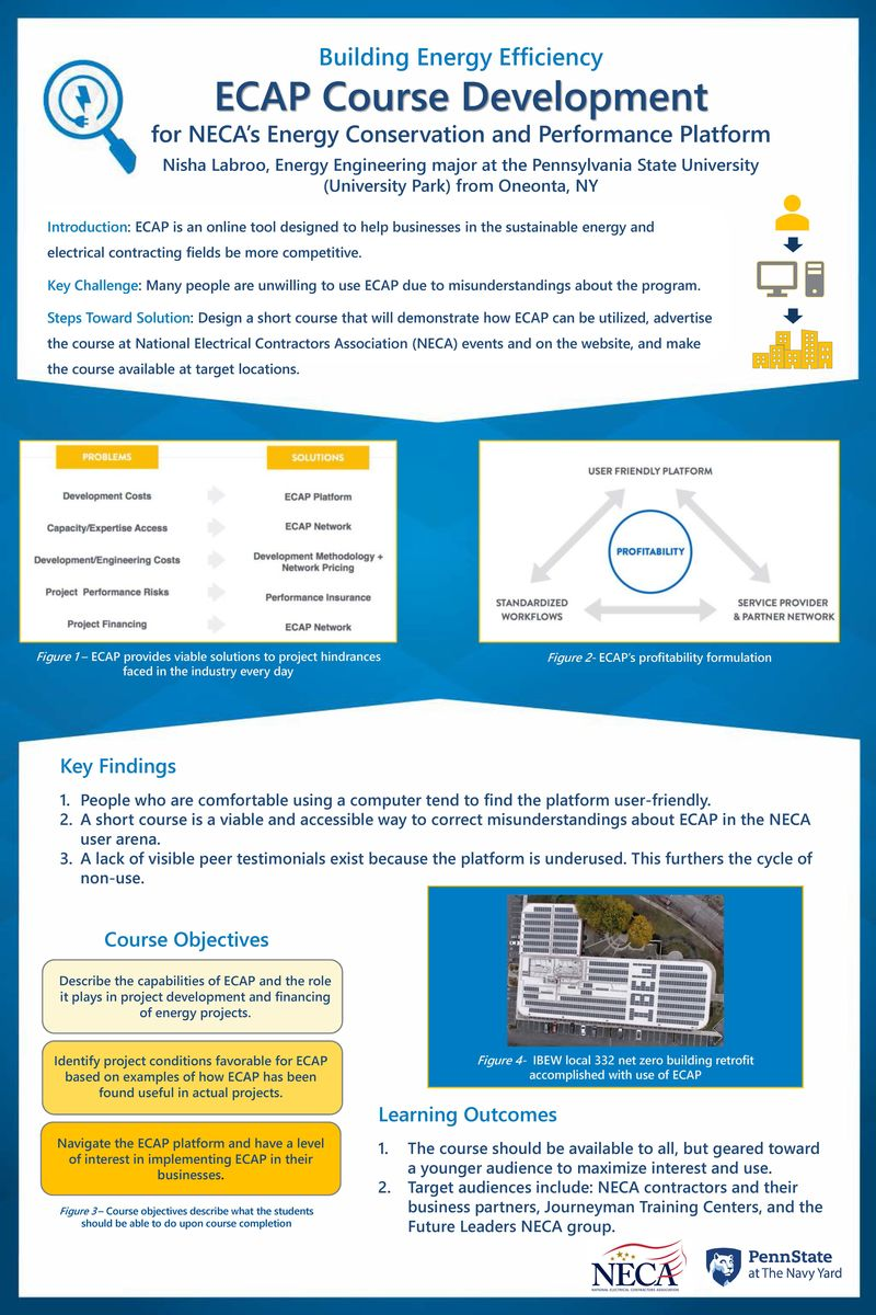 Nisha Labroo's poster on course development for NECA's energy conservation platform
